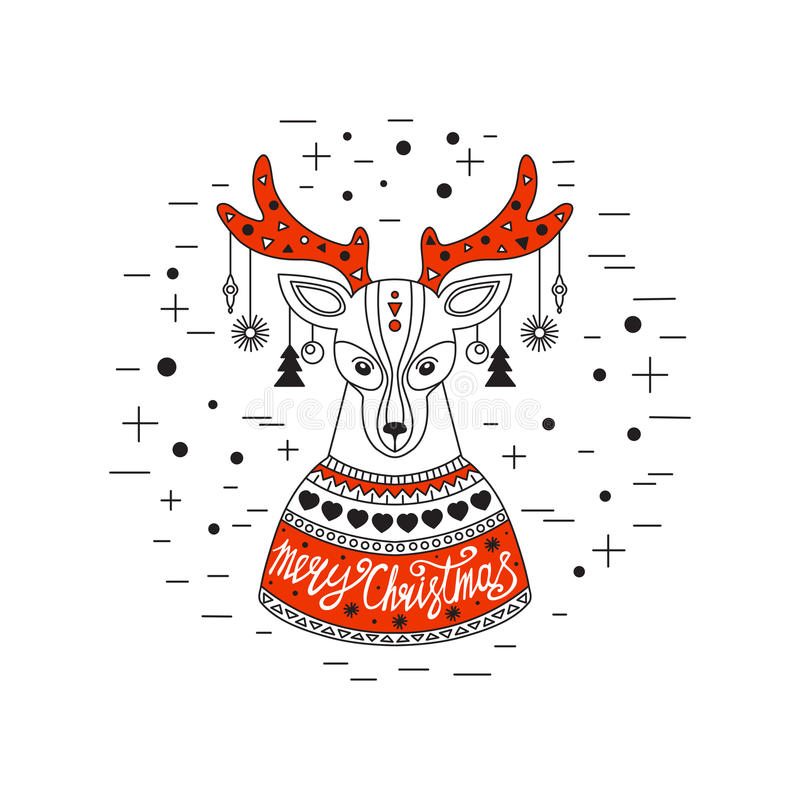 Christmas deer. Merry Christmas and Happy New Year. vector illustration