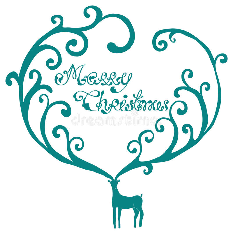 Christmas deer with Merry Christmas text stock illustration