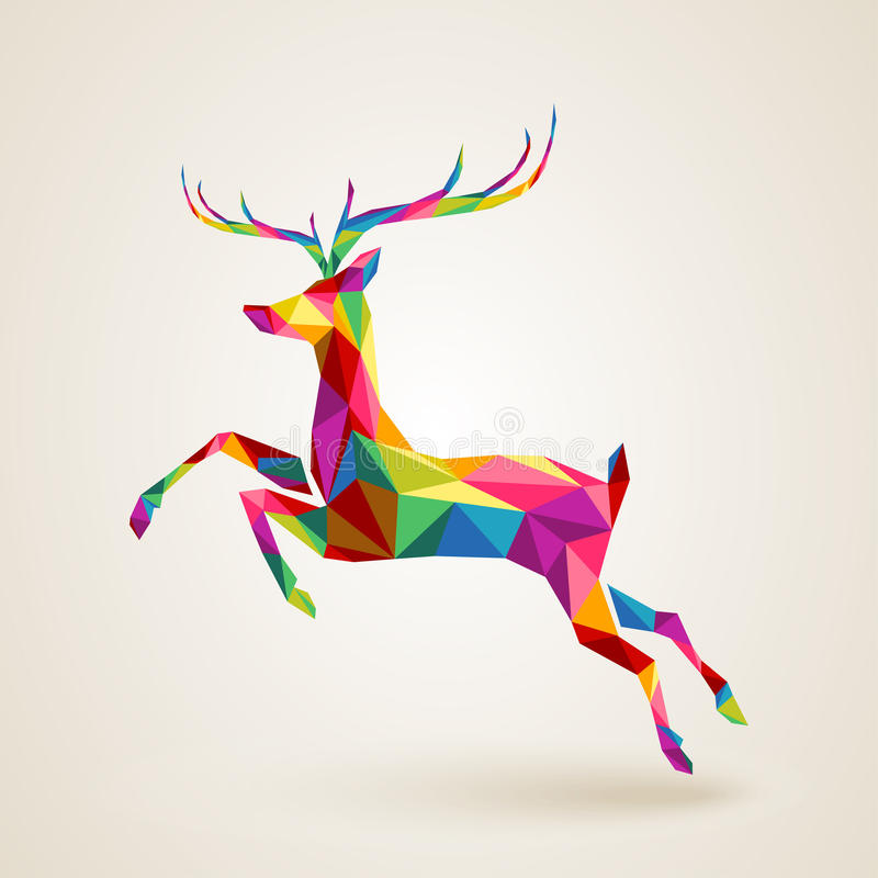 Download Christmas Deer Multicolor Origami Stock Vector