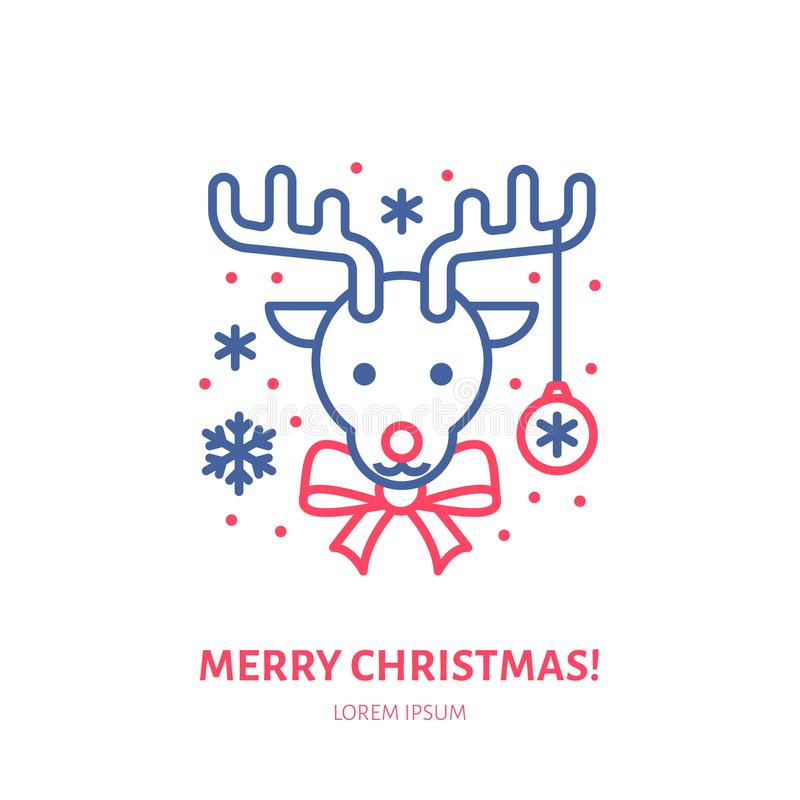 Christmas deer, new year decoration flat line icon. Winter holidays vector illustration. Sign of happy reindeer with vector illustration
