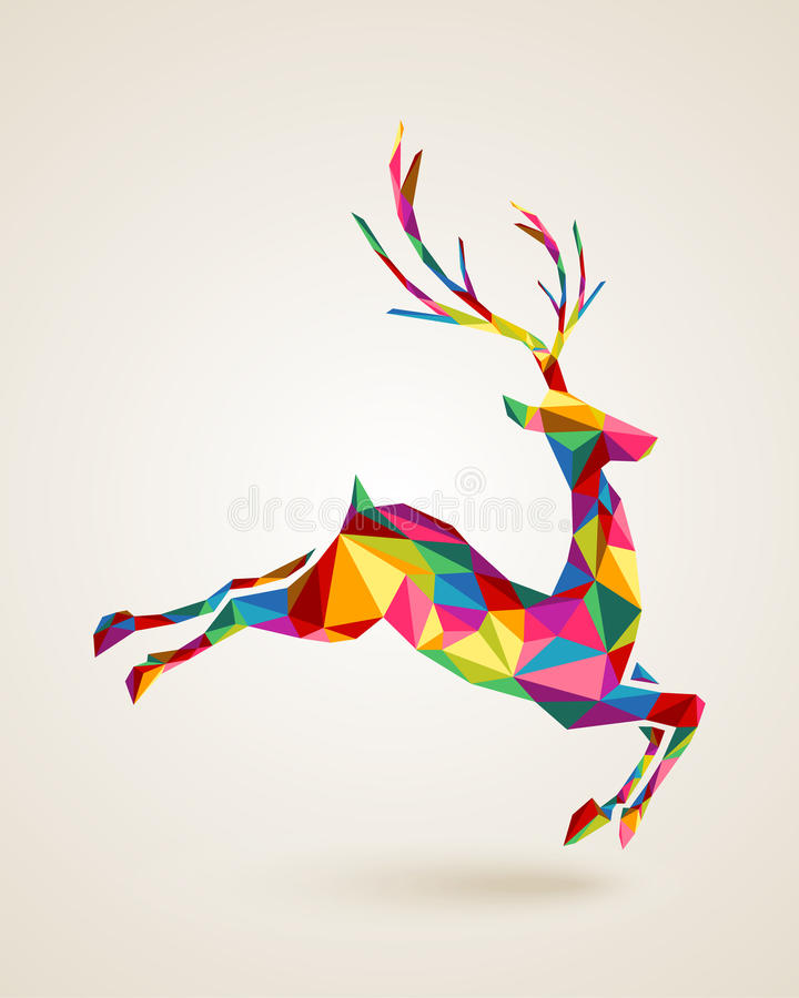 Christmas deer rainbow colors illustration. Merry Christmas colorful abstract reindeer with geometric origami composition. EPS10 vector file organized in layers royalty free illustration