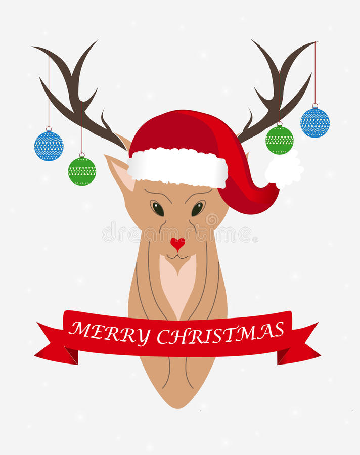 Christmas deer. With red ribbon and words Merry Christmas royalty free illustration