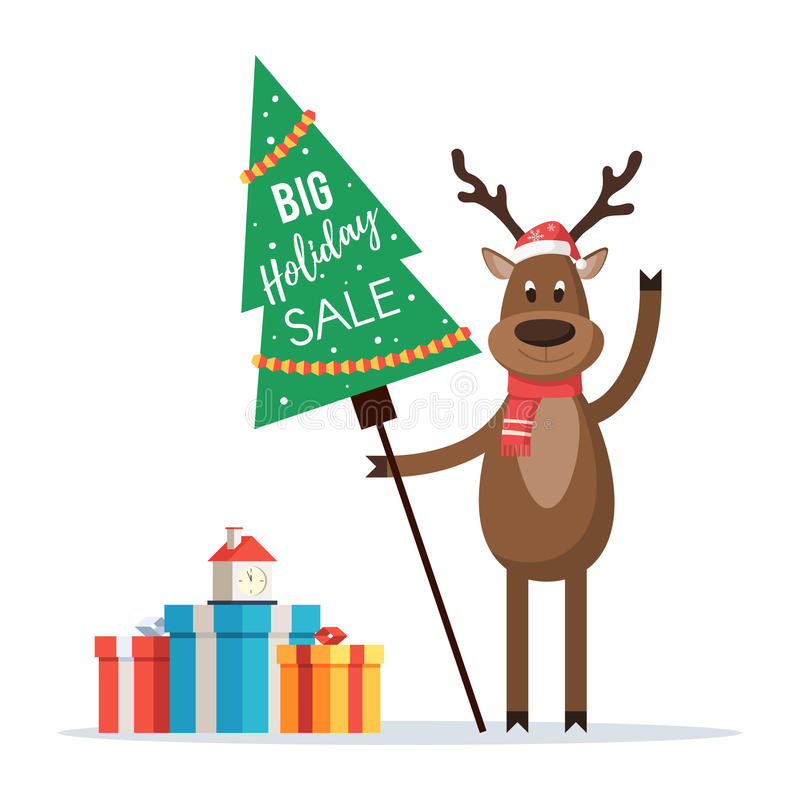 Christmas deer with sign holiday sale. Big holiday sale concept. Christmas deer with a sign in the shape of a tree with the word Sale. Vector illustration of a stock illustration