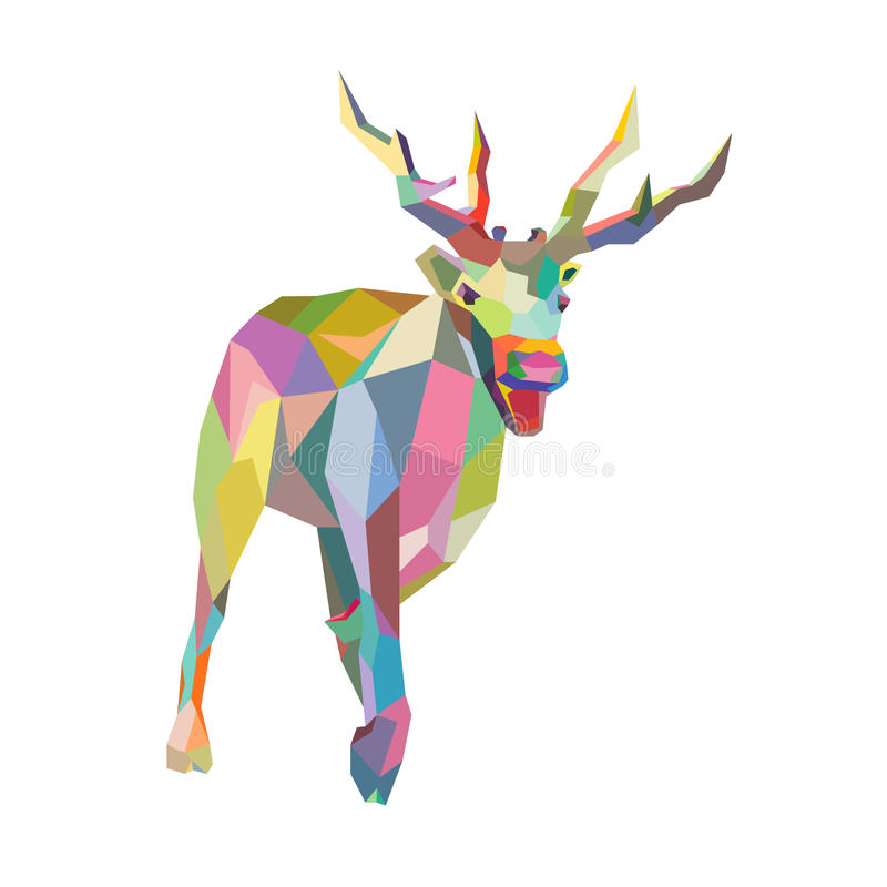 Free Christmas Deer Trendy Hipster Style Geometric Royalty Free Stock Images - 34624299