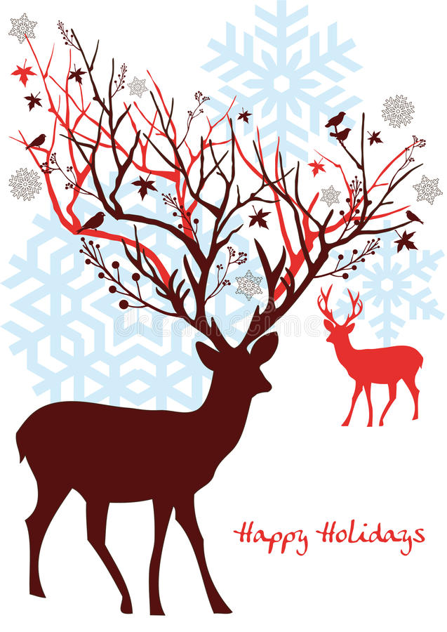 Christmas deer, vector. Christmas deer with ornaments and snowflakes, xmas card stock illustration