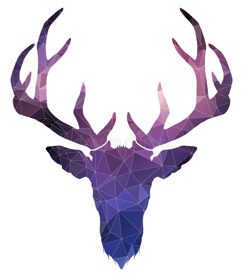 Christmas deer. watercolor silhouette. vector illustration. On white royalty free illustration
