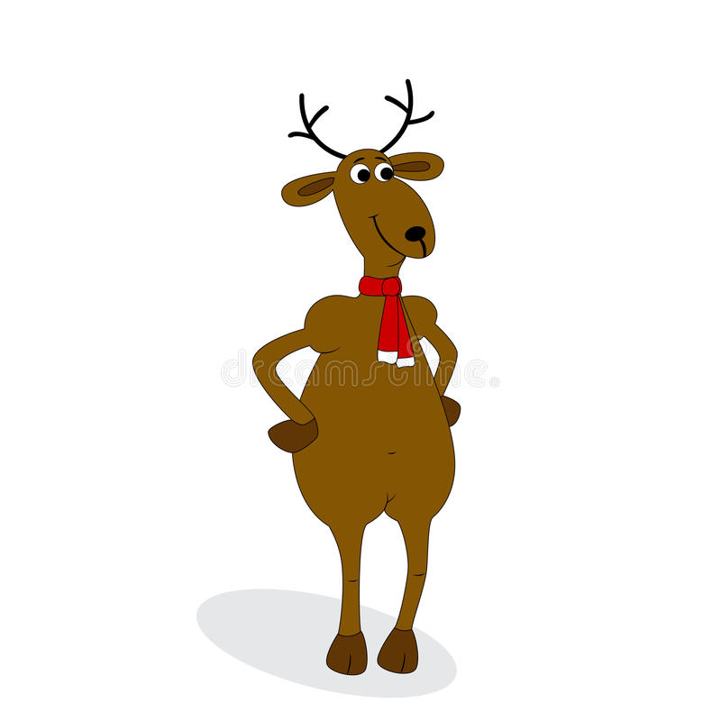 Christmas Deer On White Stock Photos