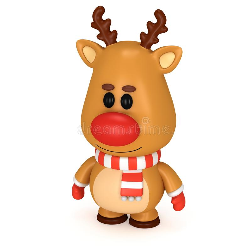 Free Christmas Deer With Red Nose Wear Scarf And Mittens Stock Photo - 60412490