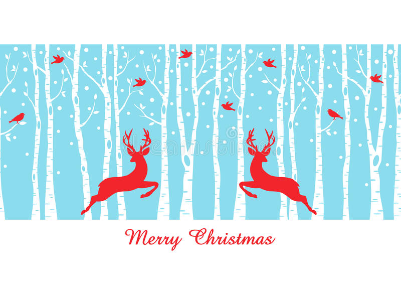 Christmas deers in birch tree forest, vector stock illustration