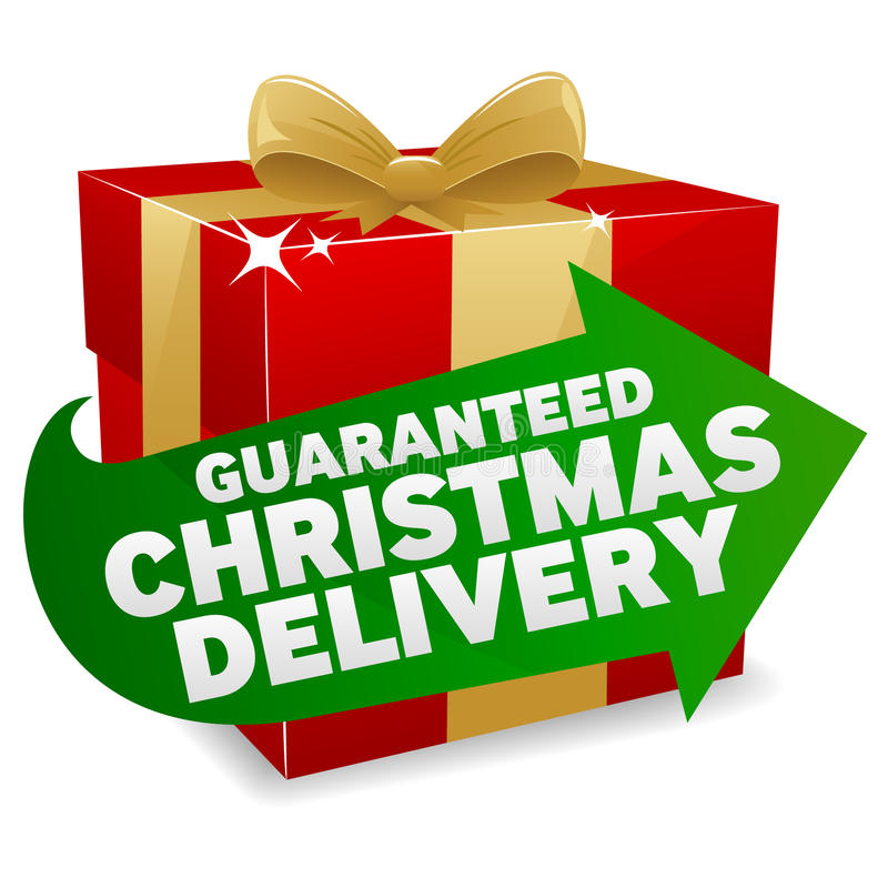 Christmas Delivery Icon. An illustration promoting Guaranteed Christmas Delivery. Shadows on separate layer