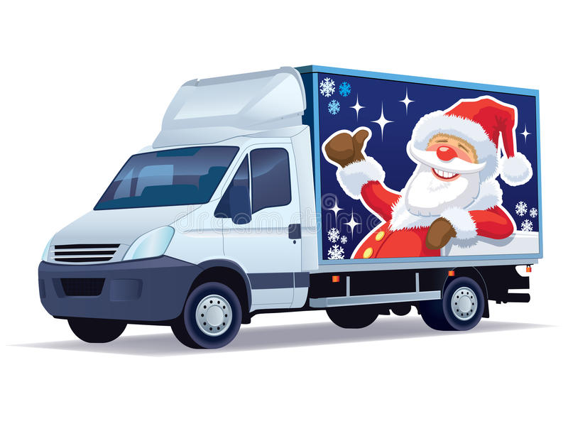 Christmas delivery truck stock illustration