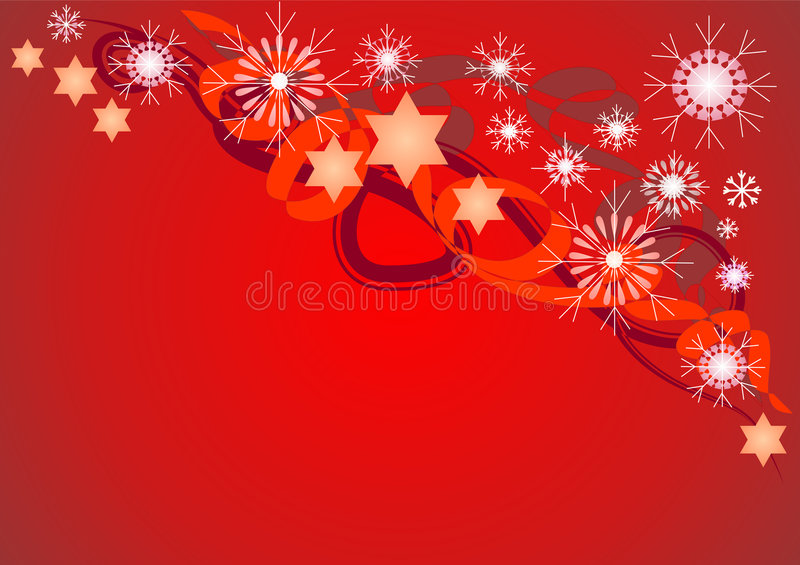 Christmas design / background. A decorative Christmas illustration with swirling ribbons, snowflakes and glowing stars. Can be used as a background stock illustration