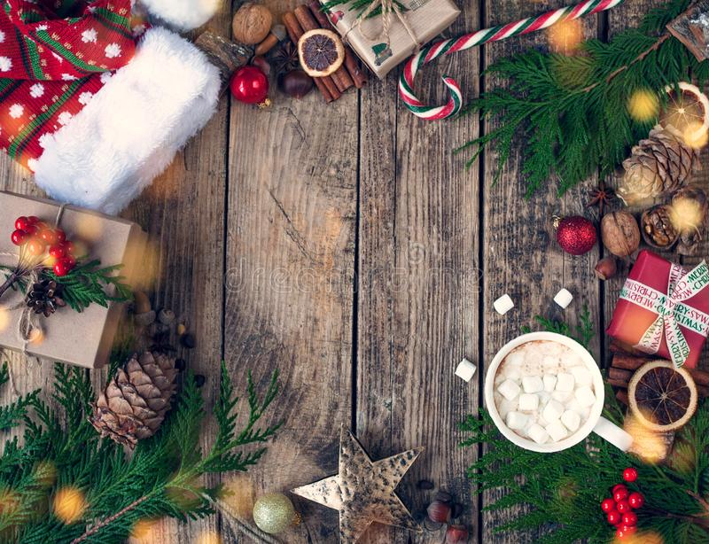 Christmas design Christmas . Christmas composition on wooden vintage background, with hot drinks, cocoa, coffee or hot chocolate w stock photo