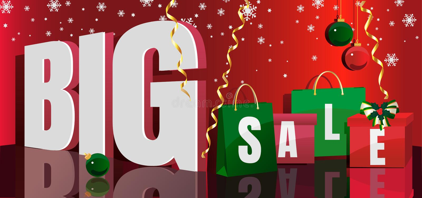 Christmas design concept with Christmas bags and boxes on a red gradient background and the words about the big sale royalty free stock image
