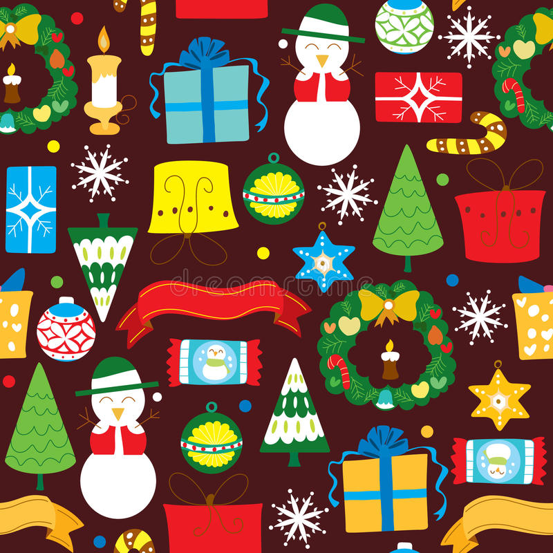 Christmas Design Elements. Illustration of christmas pattern, made as seamless, easy to repeat as wallpaper or gift wrap paper vector illustration