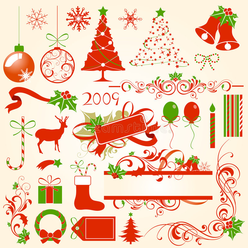 Download Christmas design elements stock vector. Image of elements - 6683337