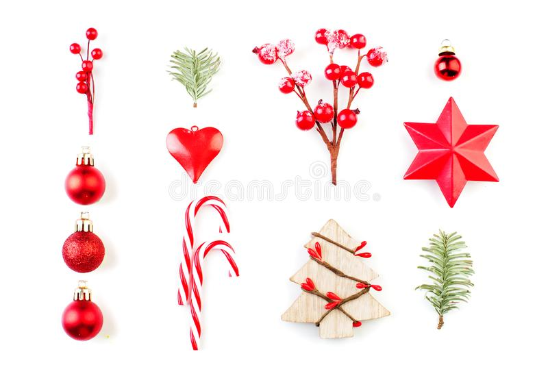 Christmas design elements. Composition of Xmas tree royalty free stock image
