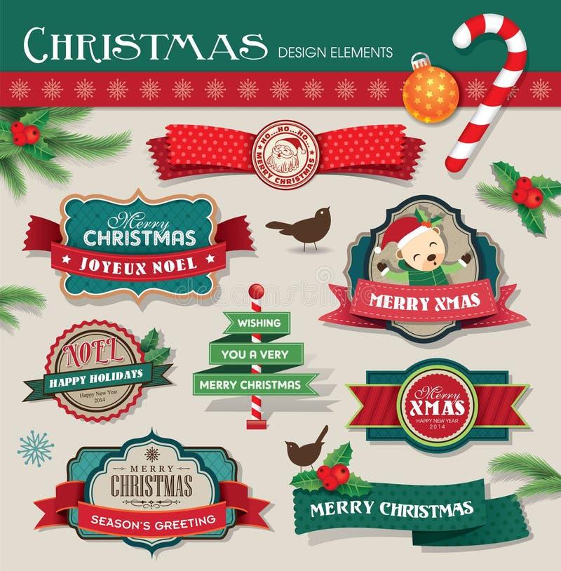 Christmas design elements stock illustration