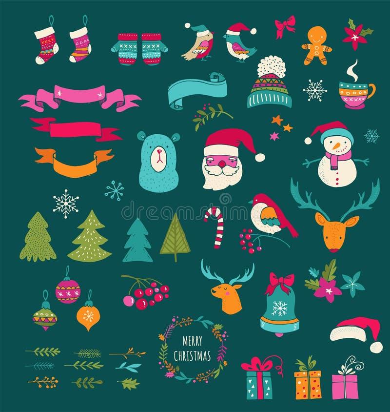 Christmas Design Elements - Doodle Xmas symbols, icons vector illustration