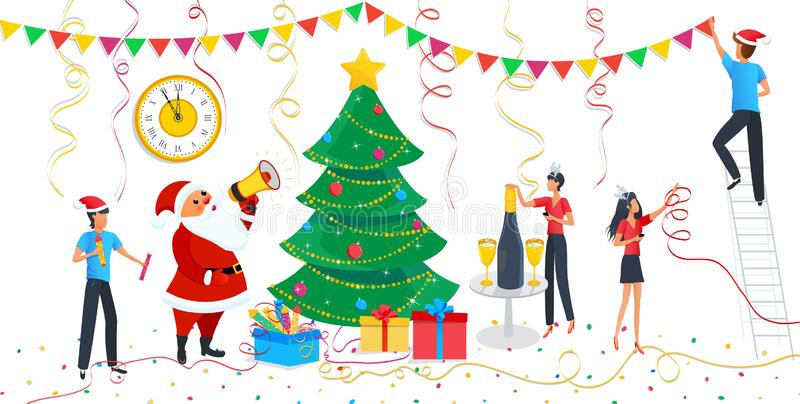 Christmas design elements set, cute cartoon Santa Claus, people in carnival costumes at party, family decorating Christmas tree. stock image