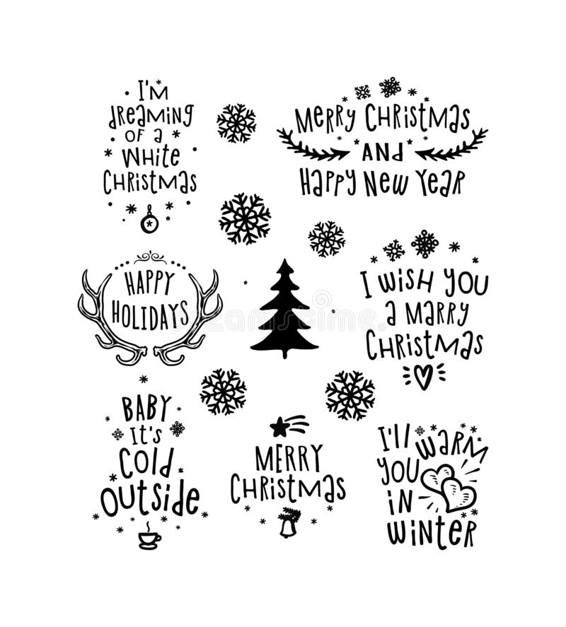 Merry Christmas 2020 Black And White Christmas Design Elements, Vector Set.Merry Christmas And Happy