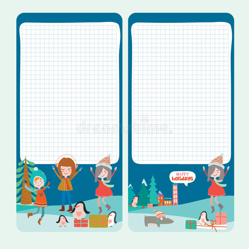 Christmas design for notebook, diary, organizers stock illustration