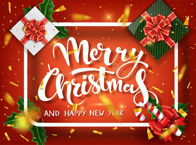 Christmas design vector template. Calligraphic Merry Christmas Lettering Decorated. Christmas poster template. Vector stock illustration