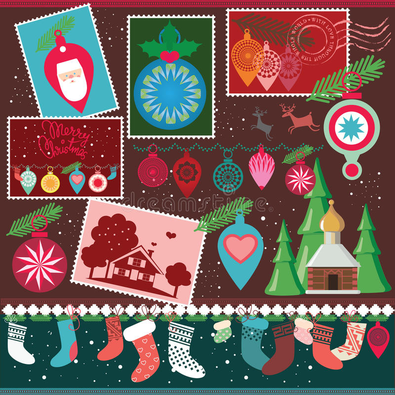 Christmas designs collection stock images