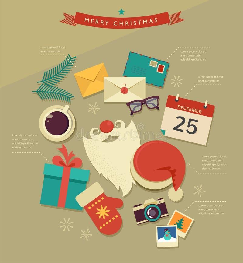 Christmas desktop flat icons design, infographic. Christmas Santa's desktop flat icons design, vector hipster infographic vector illustration