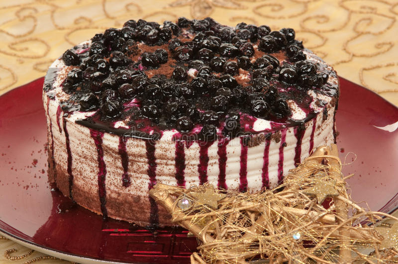 Christmas Dessert. With blueberries and chocolate stock photos