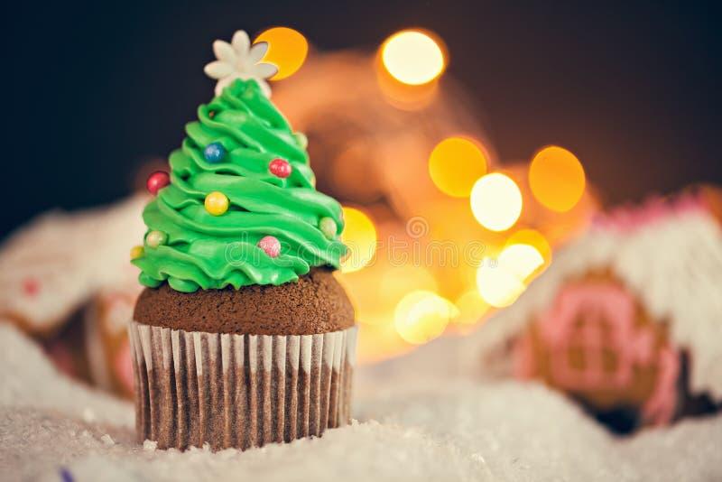 Christmas Dessert. Delicious Christmas Dessert. Christmas Tree Cupcake stock photos