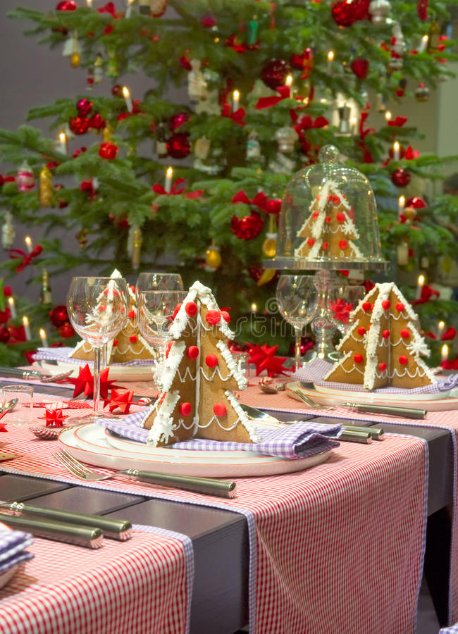 Christmas dining table stock photo
