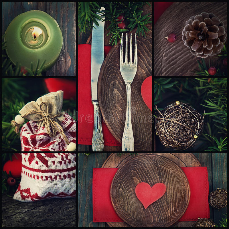 Christmas dinner collage stock photos