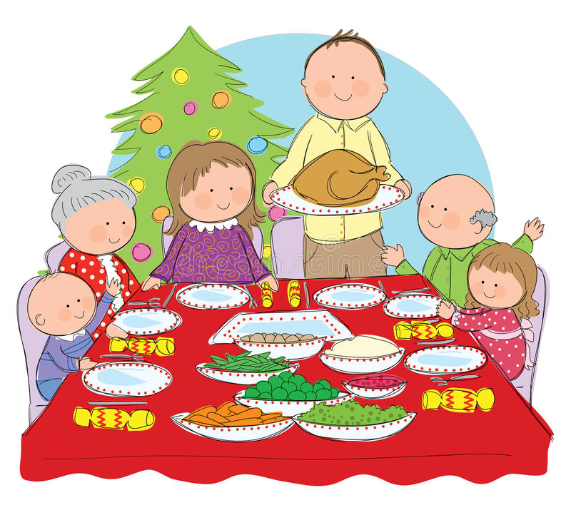 Christmas Dinner. Hand drawn picture of a family having Christmas dinner. Illustrated in a loose style. Vector eps available royalty free illustration