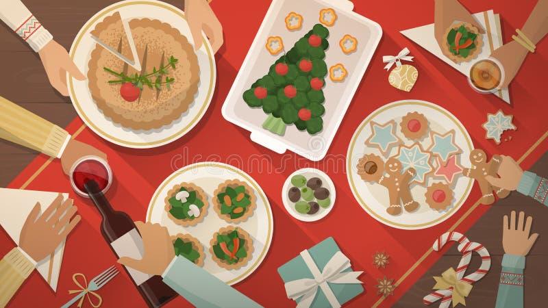 Christmas dinner stock illustration