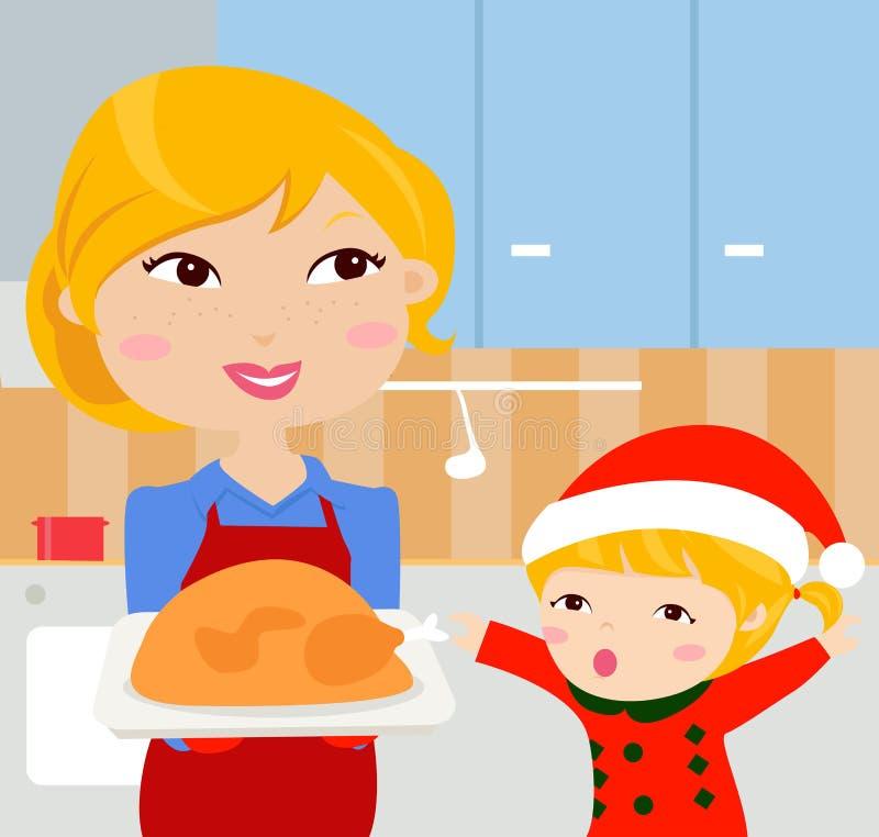 Christmas dinner vector illustration