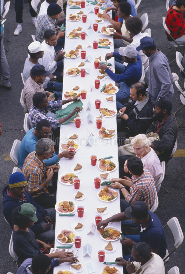 Christmas dinner at the Los Angeles stock photography