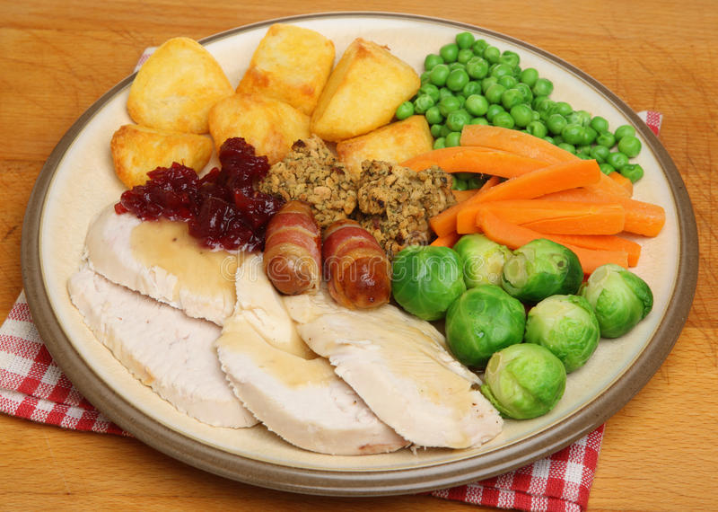 Christmas Dinner of Roast Turkey. With vegetables royalty free stock photo