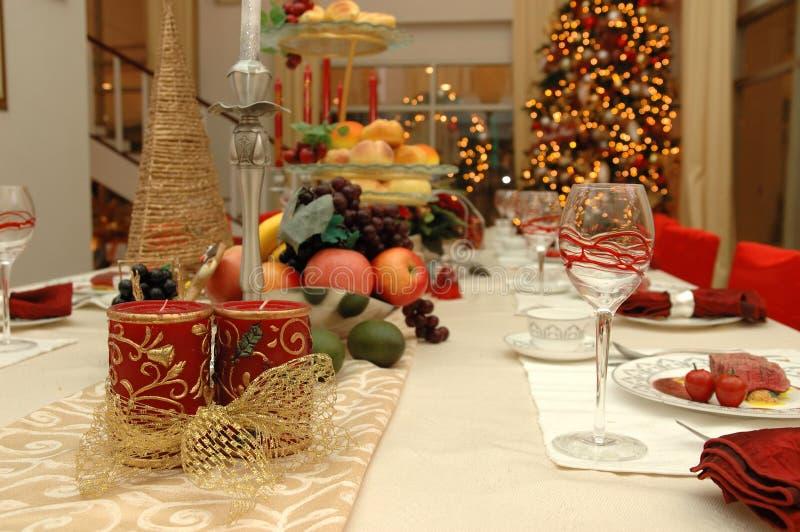 Christmas dinner set stock photos
