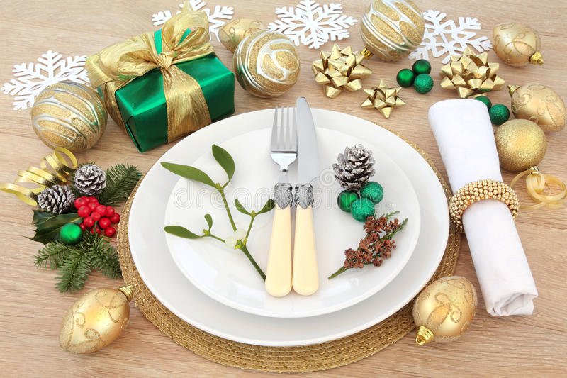 Christmas Dinner Setting Stock Image Image Of Antique