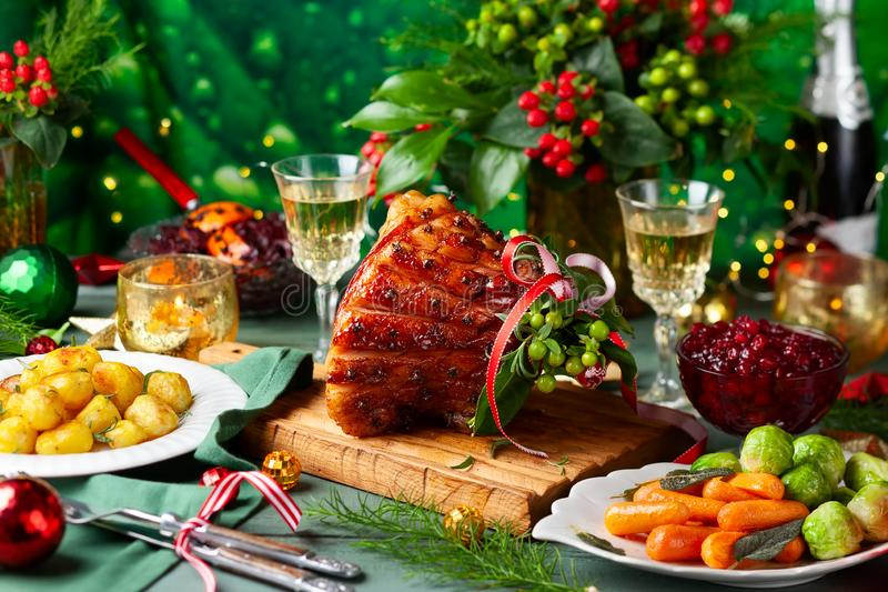 Christmas dinner with side dishes royalty free stock images