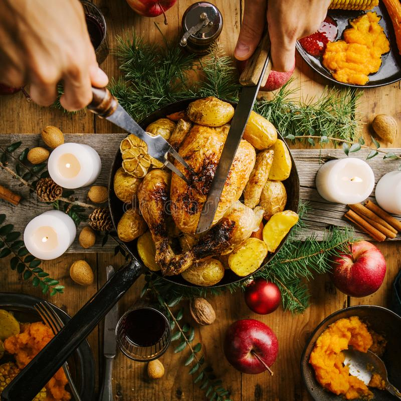 Christmas dinner table with chicken royalty free stock photo