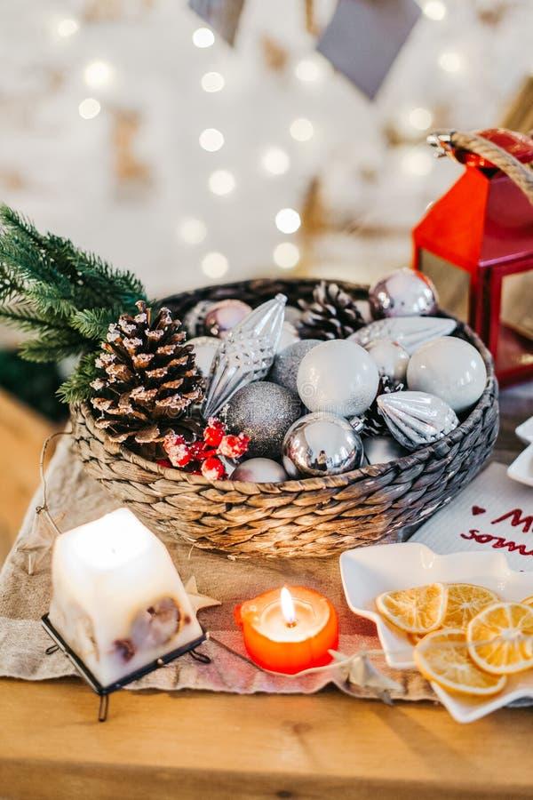 Christmas dinner table with christmas mood. stock photos