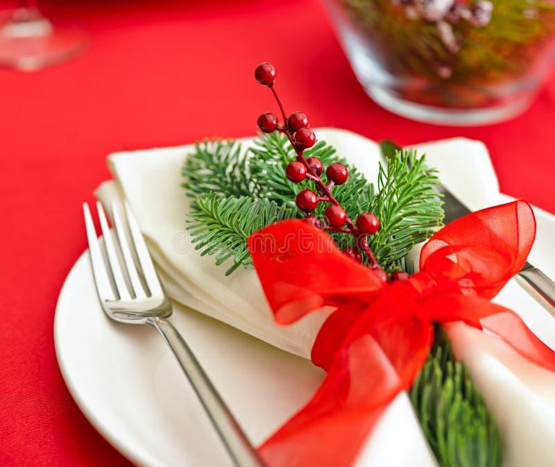 Christmas Dinner table setting stock image