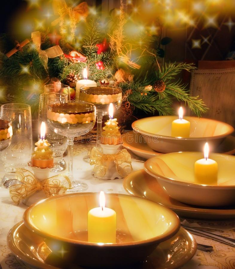 Free Christmas Dinner Table With Christmas Mood Stock Image - 10910501