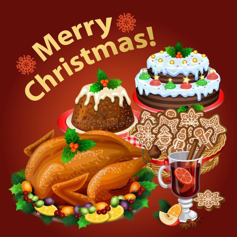 Christmas dinner, traditional christmas food and desserts. Roast Turkey, ham, Christmas pie, pudding, mulled wine. Vector illustration vector illustration
