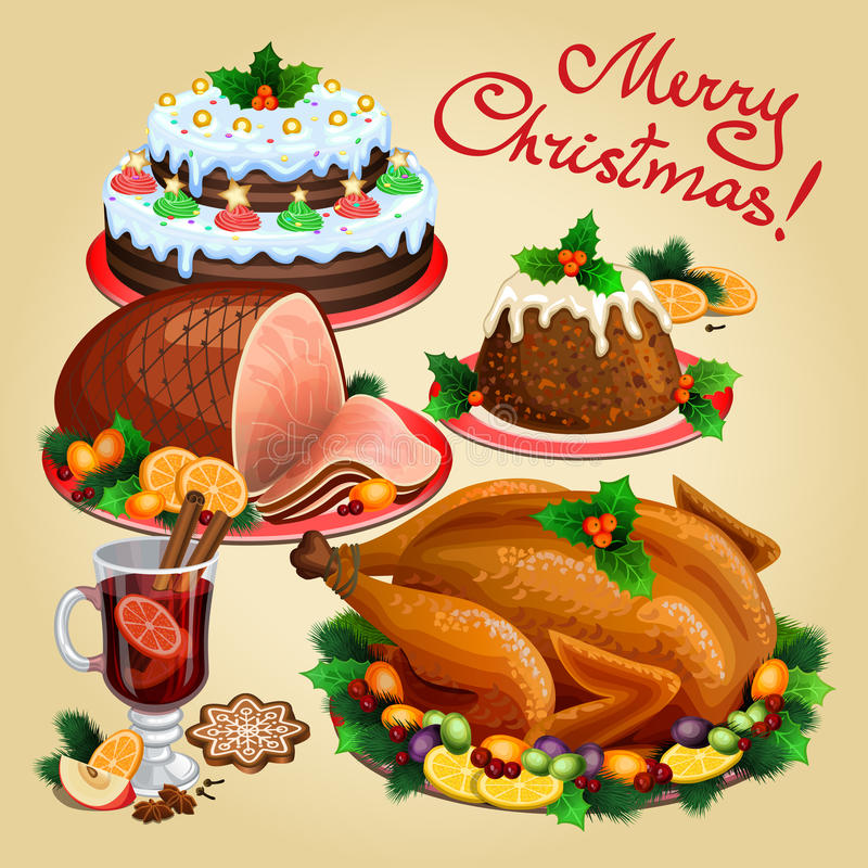 Christmas dinner, traditional christmas food and desserts. Roast Turkey, ham, Christmas pie, pudding, mulled wine. Vector illustration vector illustration