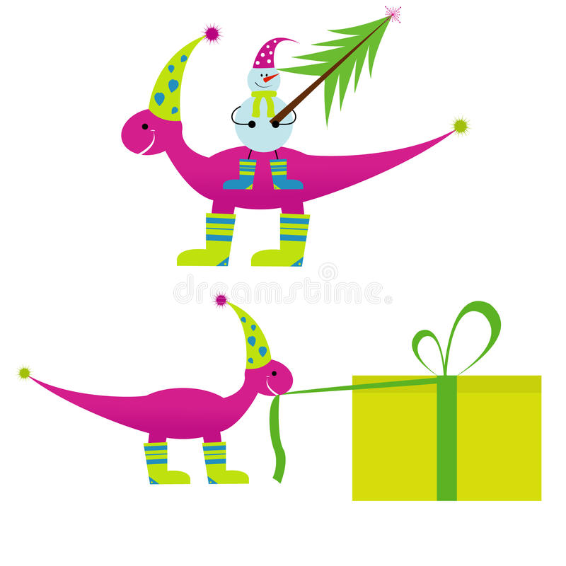 Download Christmas Dinosaur  With Snowman Royalty Free Stock Photos - Image: 11786378
