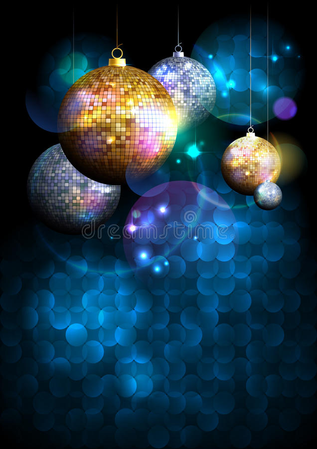 Christmas disco balls background with copy space for text, party concept, invitation. Mock up royalty free illustration