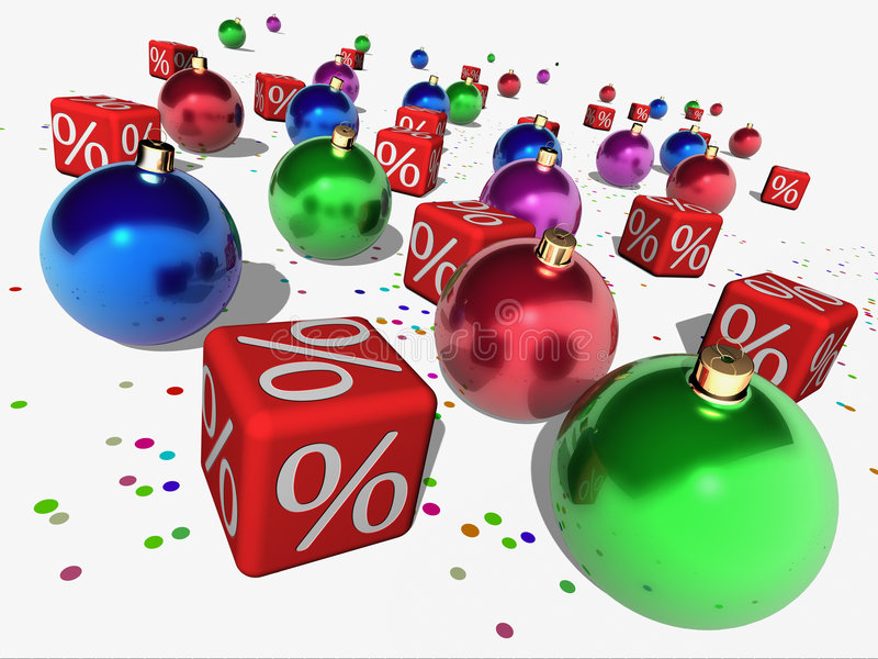 Christmas discount. Red cubes with a symbol of percent and christmas balls vector illustration